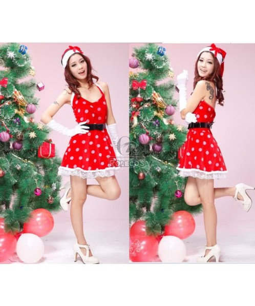 Red braces skirt Christmas costumes sexy dress printed The white dots