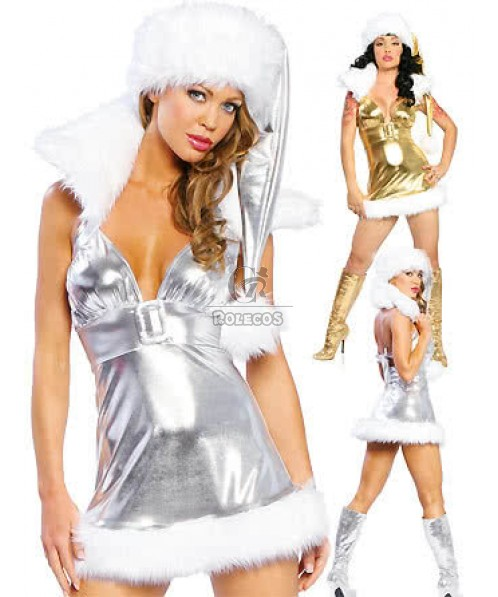 Silver Deep V collarband Christmas costumes party dress sexy women