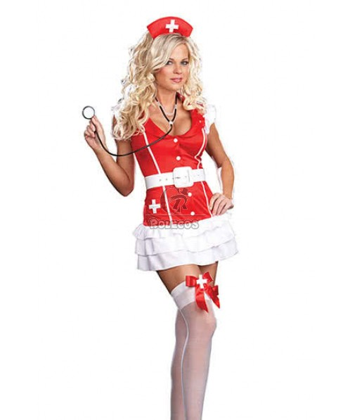 New Arrival Red Nurse Costume with White  Ruffle Rarter for Fancy Dress