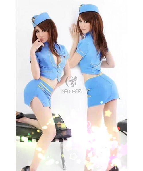 Sexy flight attendants costumes Blue uniforms coat and skirt