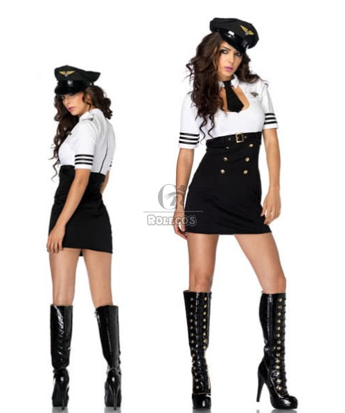 new arrivals policewoman Costumes sexy Black matching white dress