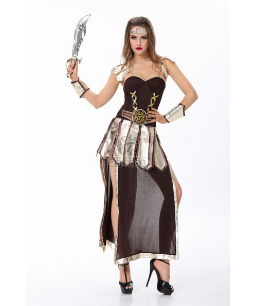 Gorgeous gladiator Halloween Costume adult Womens Roman Spartan dress up