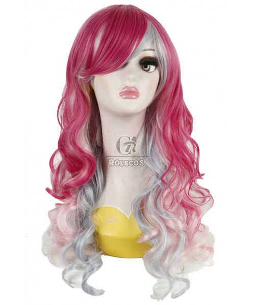 60cm Long Rose Red Fade Silver Harajuku Wave Cosplay Wigs