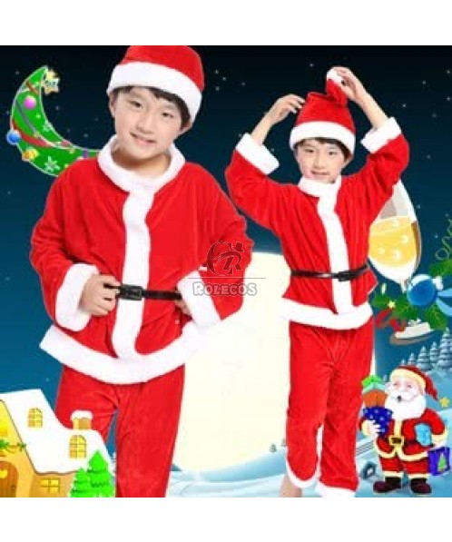 Red Boy's Christmas Costumes with Hat and Belt