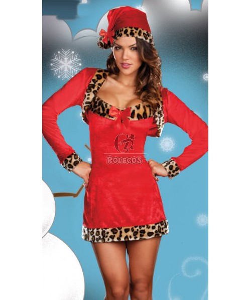 Red with leopard-print Christmas costumes party dress including Stole uniforms
