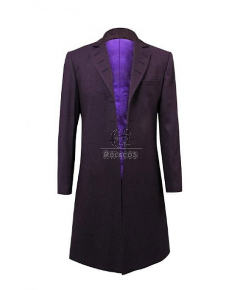 Who Is Doctor Eleventh 11th Dr. Purple Wool Frock Coat Cosplay Costume