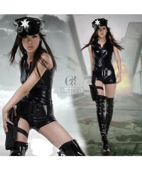 Fashion sexy uniform policewoman costumes temptation black dress