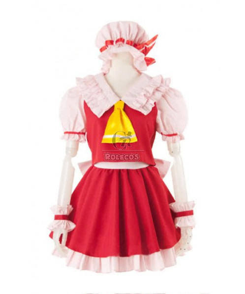 Touhou Project Flandre Scarlet Red Dress Cosplay Costume Full Set