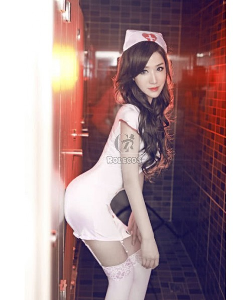 White Sexy Nurse Costumes with Red Fastener Perfect  Fancy Dress