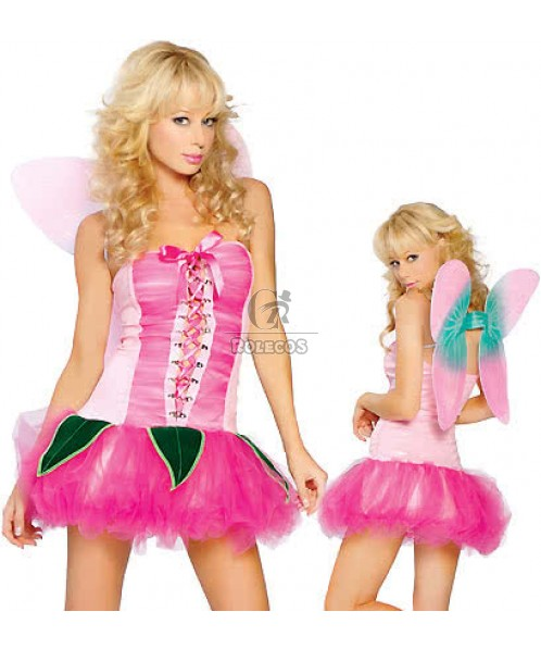 Perfect genie Halloween cosplay costume with pink dress and two wings