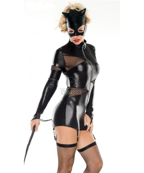 Long Sleeves Sexy Catwoman Halloween Costume for Female Party Cosplay