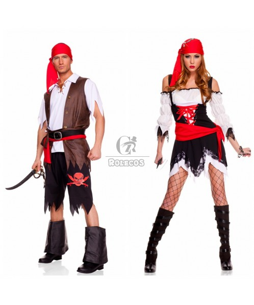 Halloween couple priate cosplay costume cool family wearing