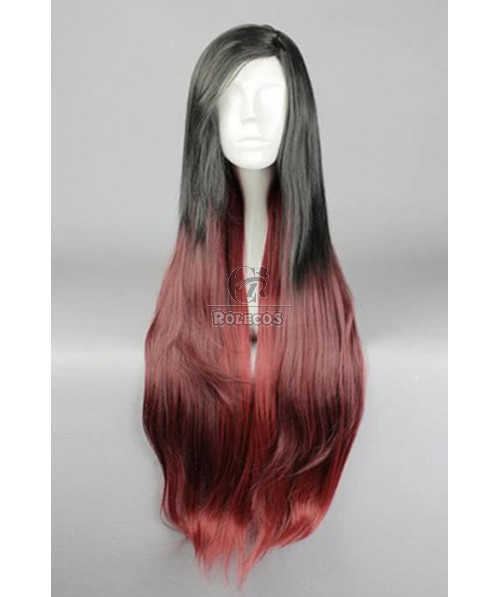 85cm Long Black Mixed Red LOL Katarina Du Couteau Cosplay Wig