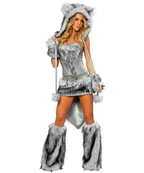 Furry animal timber wolf halloween costumes Gray cool complete set