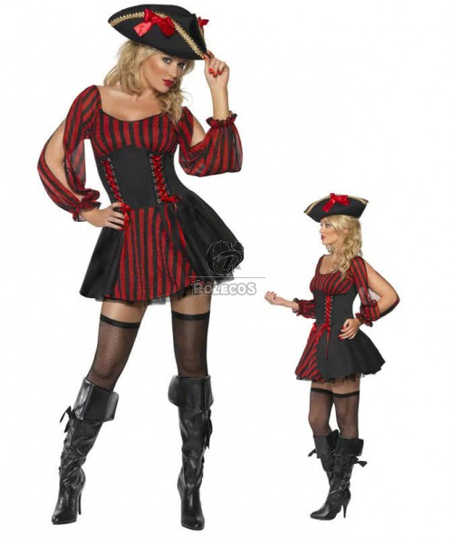 Black Cap Pirate Halloween Costumes For Club Party Fancy Cosplay