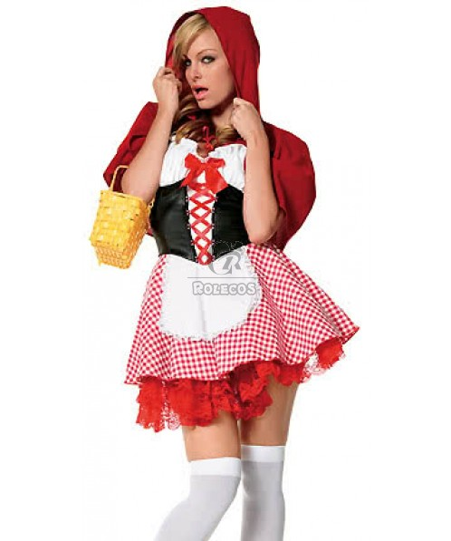 Cute Little Red Riding Hood Halloween Cosplay Costumes with Dark Red Lace Edge