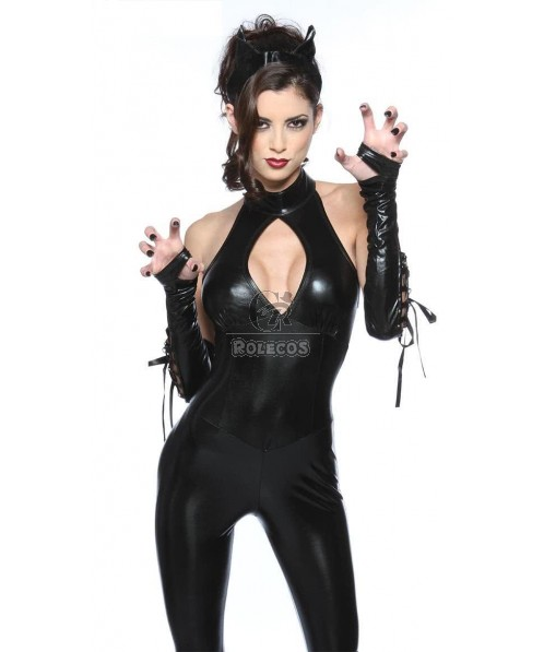 Sexy black catsuit catwoman girl party clubwear costume