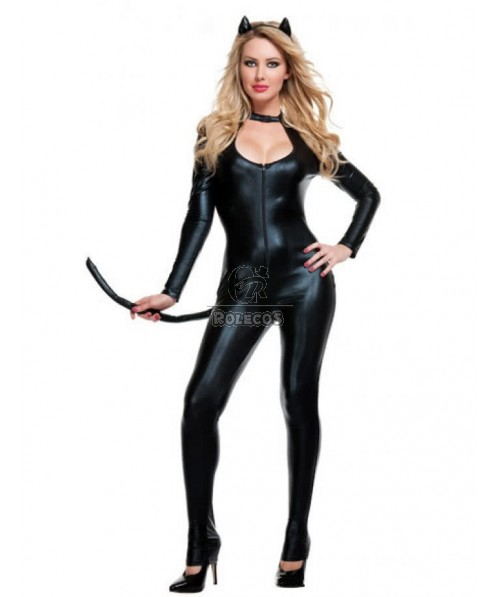 Deluxe Long Sleeves Catwoman Halloween Costumes with Tail Exotic Apparel