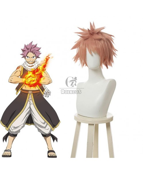 Anime 25cm Short Cherry red FAIRY TAIL Natsu Dragneel Cosplay Wig