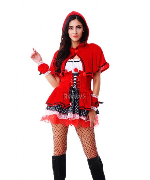 2015 Fashion Red Women's Christmas Costume Long Sleeve Hooded Suit
