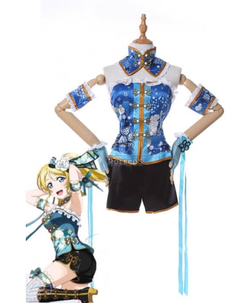 Love Live Ayase Eli Blue Beautiful Anime Cosplay Costumes