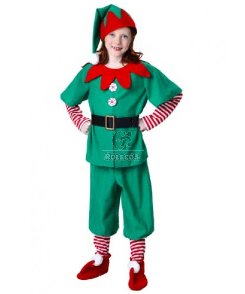 Green and Red Children Christmas Costume with Gear Collar