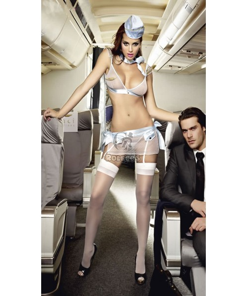 Sexy Flight Attendant Costume for Women Black and White for your selection