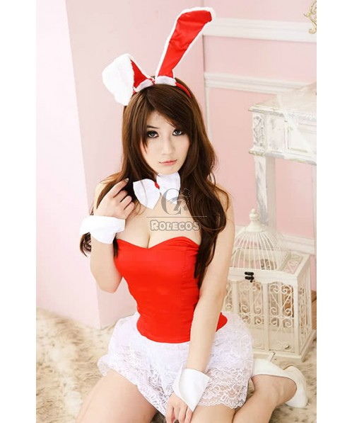 Red And White Bunny Waitress Costume Cosplay Pub Performance