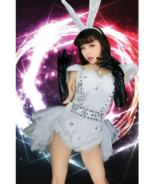 Bunny White Dress Sexy Charming Cosplay Costume