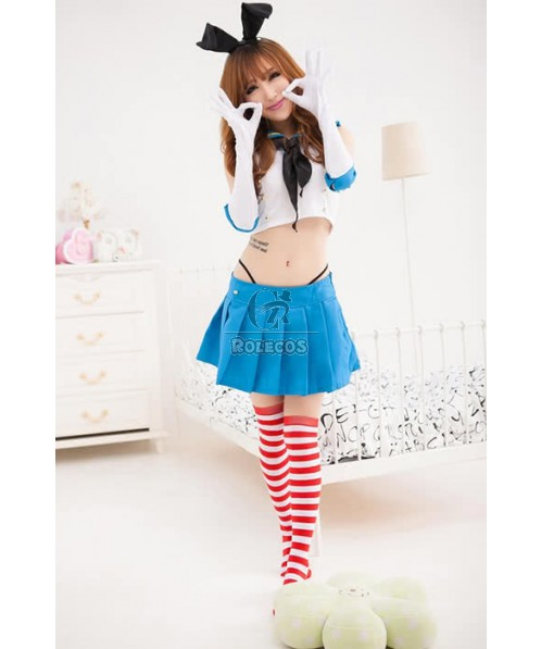Bunny Cosplay Costume White And Blue Navy Style