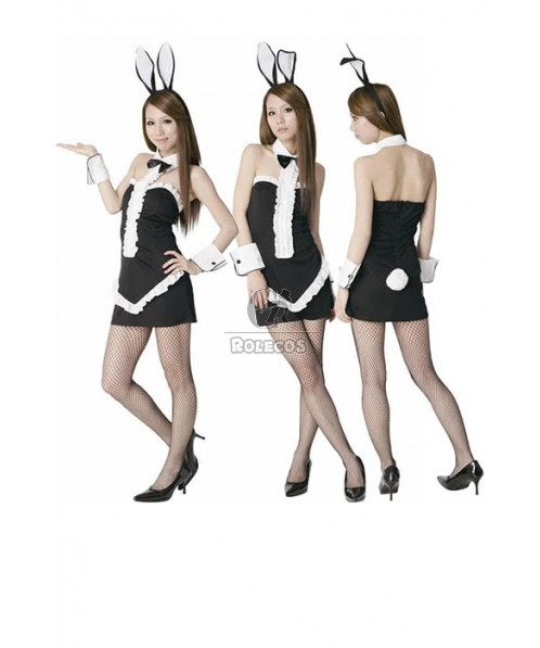Sexy Bunny Party Pretty Mixed Black and White Dress Cosplay Costumes