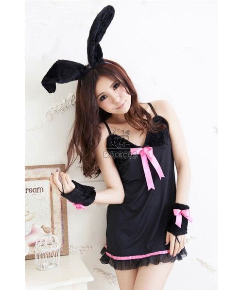 Bunny Party Pub Black Dress Performance Cosplay Costumes
