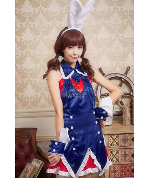 Mixed Blue and Red Dress Party Pub Bunny Cosplay Costumes