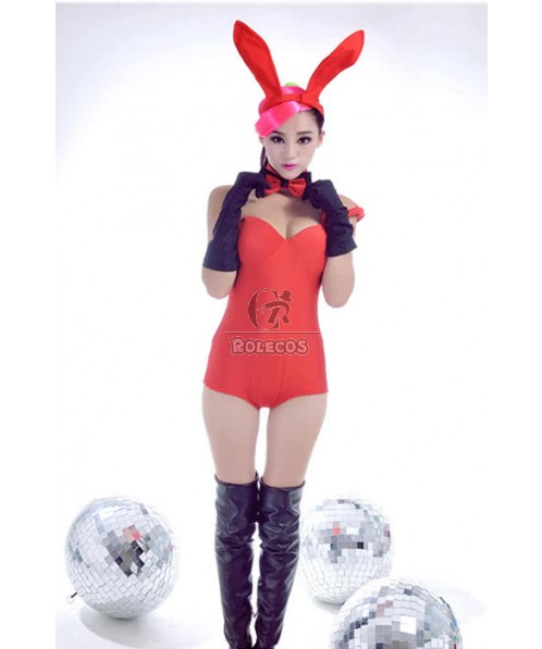Red Jumpsuits Dress Party Stage Ds Bunny Cosplay Costumes