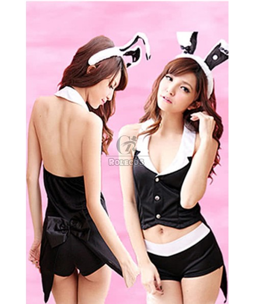 Bunny Black Backless Two-piece Dress Cosplay Costumes