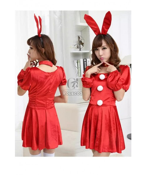 Bunny Red Dress Pretty Girl DS Dance Performance Cosplay Costumes