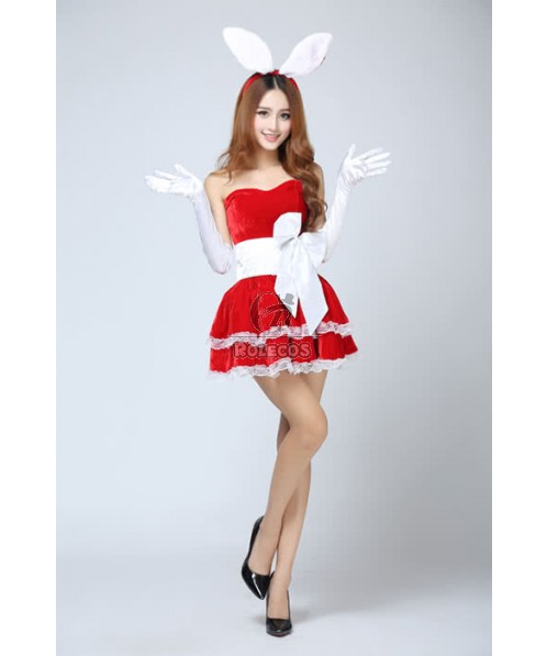 Bunny Costume Red And White Short Dress With Long Gloves And Bunny Ear