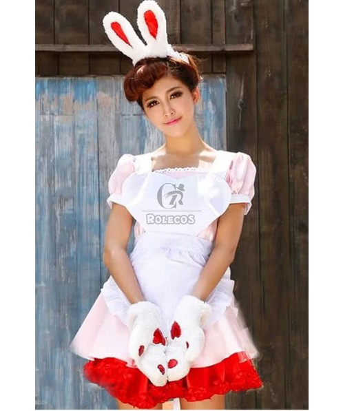 Bunny Party Pub White Pretty Dress Cosplay Costumes