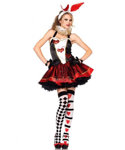 Sexy Uniform Party Bunny Cosplay Costume Red and Black