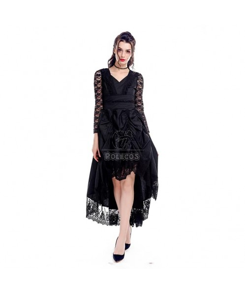 Black Sexy Gothic Victorian Dress With Long Sleeves Cosplay Costume