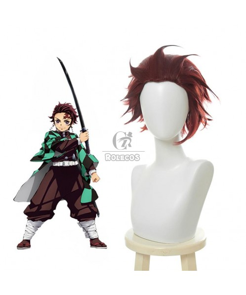 Demon Slayer / Kimetsu no Yaiba Tanjirou Kamado Red Black Cosplay Wigs