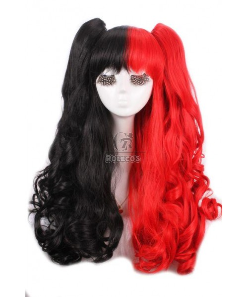 60cm Long Black and Red Lolita Wavy Cosplay Wigs