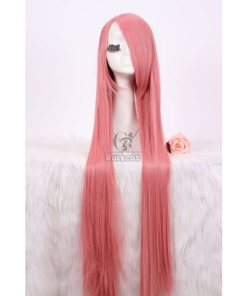 100cm long straight hot pink cosplay wig synthetic Anime fashion women full hair