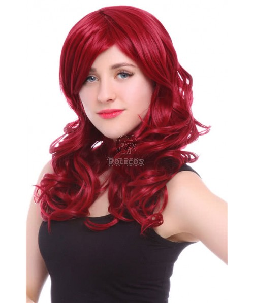 50cm Long Red Curly Anime Cosplay Wig