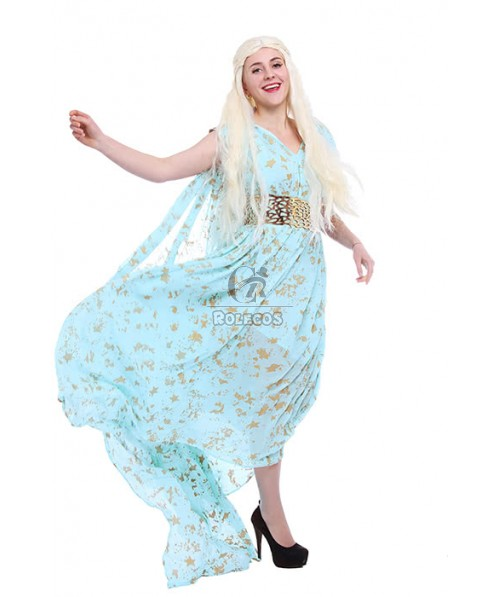 Daenerys Targaryen With Special Design Blue Dress Cosplay Costume