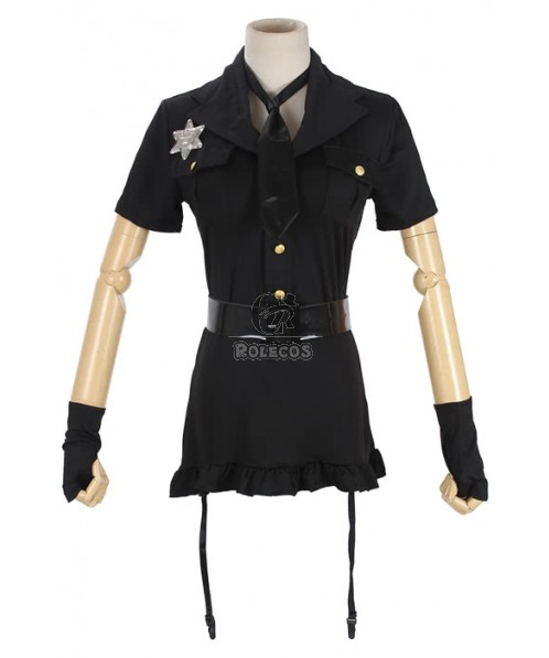 Hot selling Sexy Party Police Costume black dress with gloves