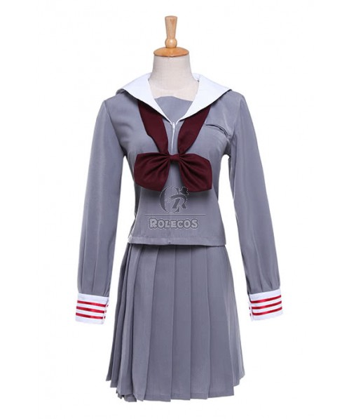 Classic School Girl Costume Wine Red Bow-knot