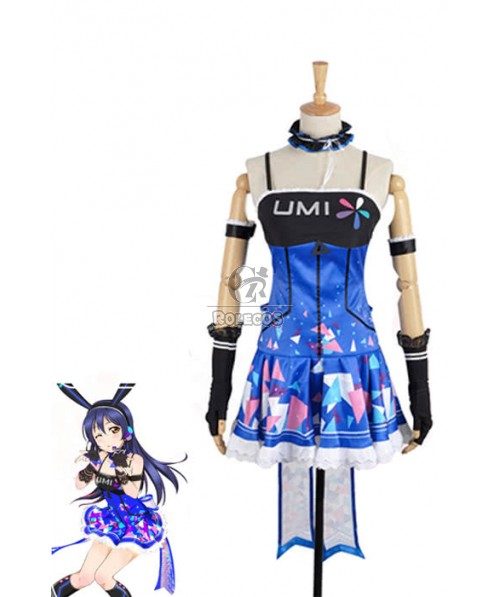 Love Live! Video Game Awaken Umi Sonoda Cosplay Costumes Blue Dresses