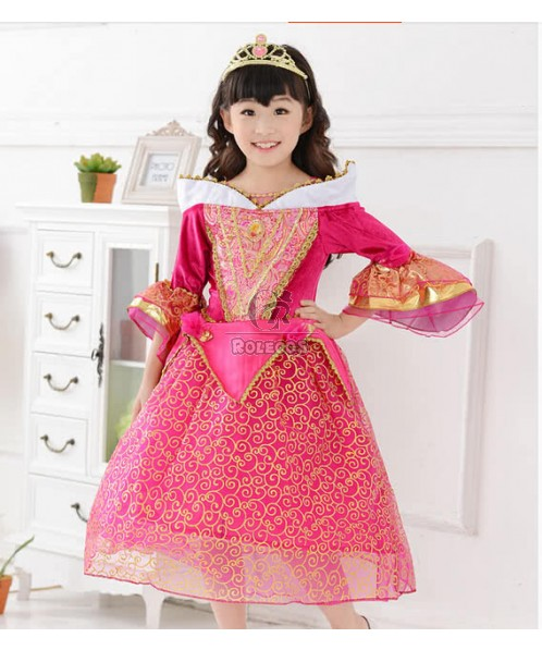 Fashion Girls' Luxury Sleeping Beauty Princess Dress Party Costumes with Crown