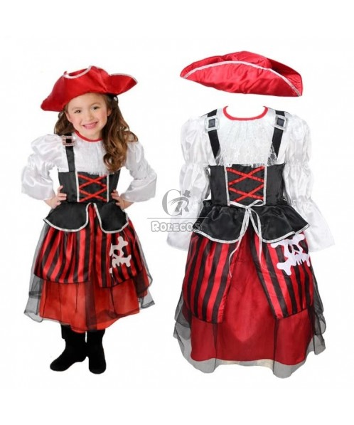 Cute Children's Halloween Party Costume Pirate Captain Dress with Hat